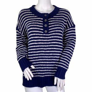 American Eagle Navy Striped Button Henley Sweater